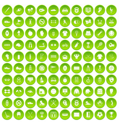100 sport equipment icons set green circle vector