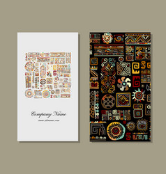 Business card design ethnic handmade ornament vector