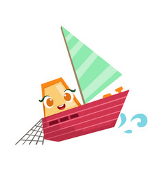 Sailing fisherman fishing boat cute girly toy vector