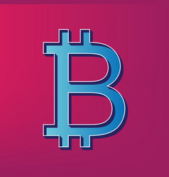 Bitcoin sign  blue 3d printed icon on vector