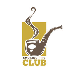 Smoking pipe club colorful logotype isolated on vector
