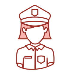 Red contour of half body of faceless policewoman vector