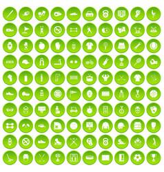 100 sport equipment icons set green circle vector image