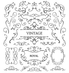 Set of vintage swirls frames vector