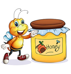A bee beside the jar of honey vector