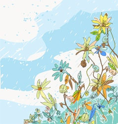 Flowers under snow vector