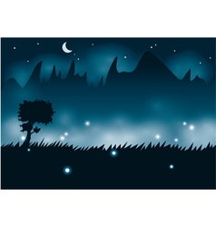 Summer night with fireflies vector image