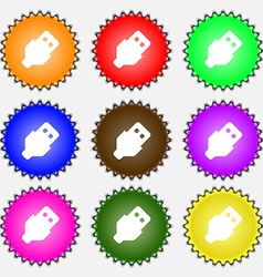 Usb icon sign a set of nine different colored vector