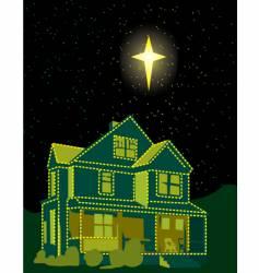 Christmas lights house vector