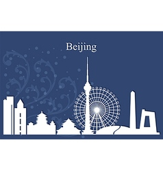 Beijing city skyline on blue background vector