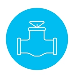 Gas pipe valve line icon vector