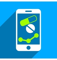 Pharmacy mobile chart flat square icon with long vector