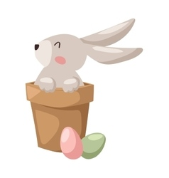 Gray easter rabbit bunny traditional symbol of vector
