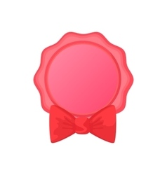 Award ribbon rosette with bow icon cartoon style vector