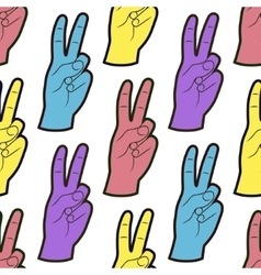 Seamless pattern with hands with two fingers up vector