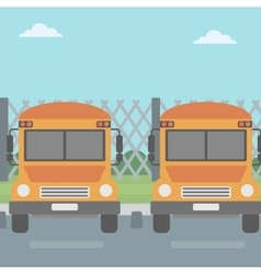 Yellow buses on the background of mesh fence vector