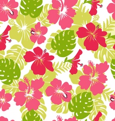 Pattern of tropical leaves and flowers hibiscus fl vector