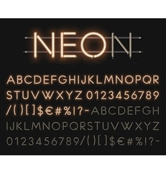 Realistic neon alphabet glowing font vector