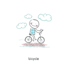 A man rides a bicycle vector image