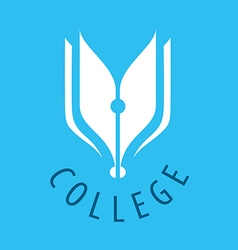 Abstract logo nib and books for college vector image vector image