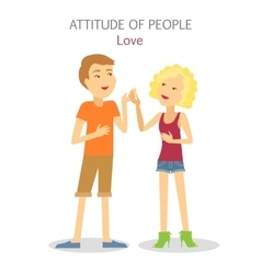 Attitude of people boy and girl in love vector