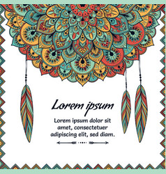 beautiful card with feather card of mandala in vector image vector image