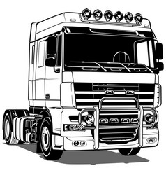Black and white truck vector