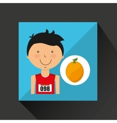 Cartoon boy athlete with orange vector