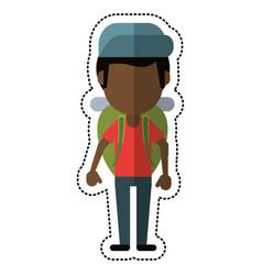 cartoon man backpack and cap vector image