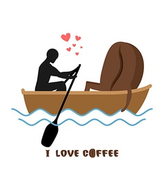 Coffee lovers man and coffee beans ride in boat vector