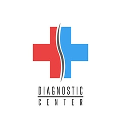 Cross logo medical spine diagnostic center mockup vector