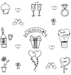 Doodle of sweet wedding party vector