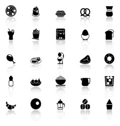 Easy meal icons with reflect on white background vector image