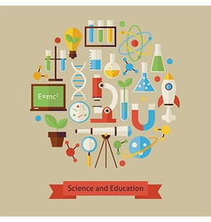 Flat style science and education objects concept vector