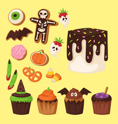 Halloween cookie symbols of food night cake party vector