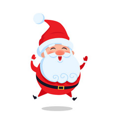 happy jumping santa claus isolated icon vector image