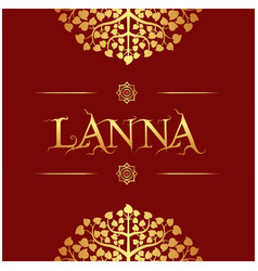 Lanna gold bodhi leaves red background imag vector
