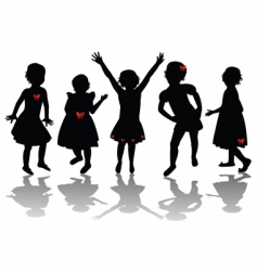 little girls vector image vector image