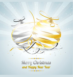 merry christmas and happy new year with gold and vector image