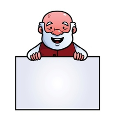 Old man holding a blank sign vector image vector image