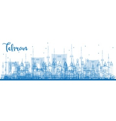 Outline tehran skyline with blue landmarks vector