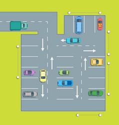 Parking scheme with car and arrow vector