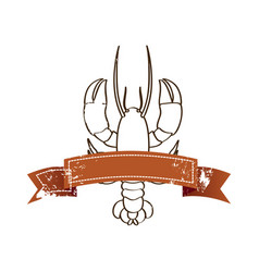 silhouette lobster with old ribbon vector image