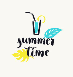 Summer time modern hand drawn lettering phrase vector