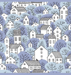 trees and houses seamless pattern winter light vector image vector image