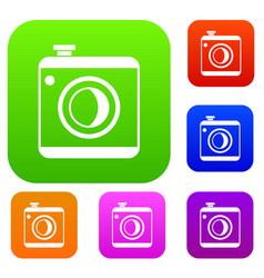 vintage photo camera set collection vector image vector image