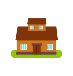 Brown Suburban House Exterior Design With Attic vector image