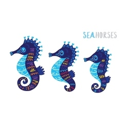 Cartoon family sea horse set vector