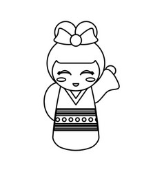 kokeshi doll geisha decorative line vector image