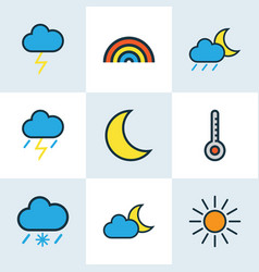 Meteorology colored outlines set collection of vector